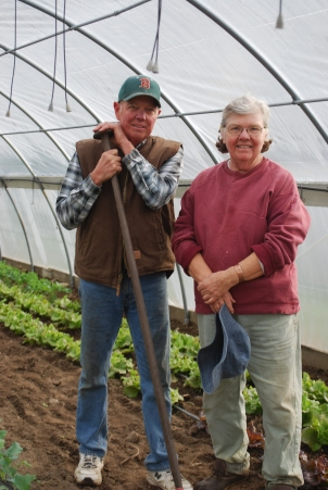 Tim & Noreen working in a high tunnel for winter greens
